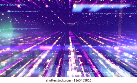 An advanced3d illustration of a glittering colorful space structure from white cubes and dots placed in lengthy rows forming a time tunnel for sci-fi spaceships in the violet universe.