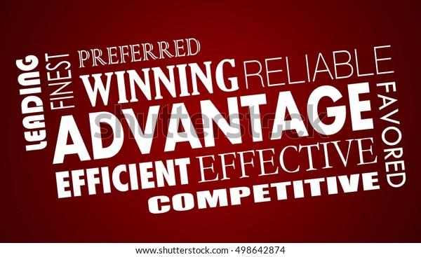 Advantage Benefits Competitive Edge Words Collage 3d Illustration