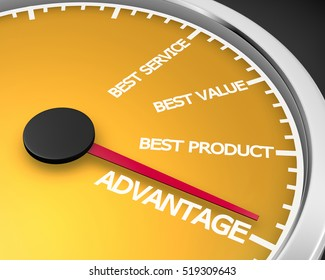 Advantage Better Product Price Service Speedometer 3d Illustration rendering