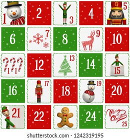 Advent Calendar with the Festive Season's Christmas Characters in Red, White, and Green