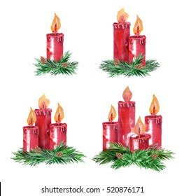 Advent Candles. Watercolor Illustration.