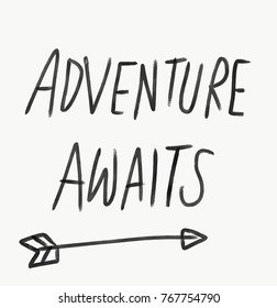 Adventure awaits word lettering watercolor illustration