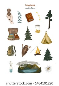 Adventure time, travel book collection. Mountains and lake, backpack, compass, flowers, trees and plants. Hand-drawn illustrations on white isolated background