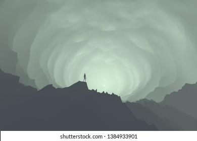 adventurer exploring huge mysterious cave, fantasy 3d illustration