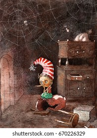 The adventures of Buratino or the Golden key,illustration Pinocchio ,watercolor