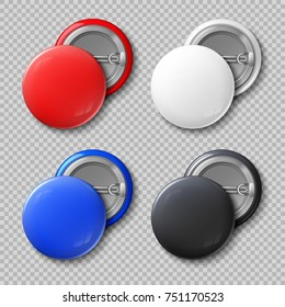Advertise blank color round metal buttons or badges isolated set. Template colored souvenir badge, pin label circle illustration