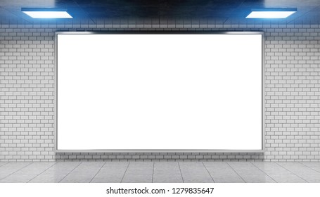 Advertisement billboard in bright subway station 3d rendering