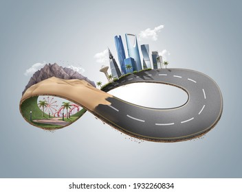 Advertisement poster of a creative infinity loop design showing a city, desert and park, 3d loop design for never ending key visual ads