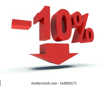 Advertising 10 % discount sign in red. 3d render illustration.