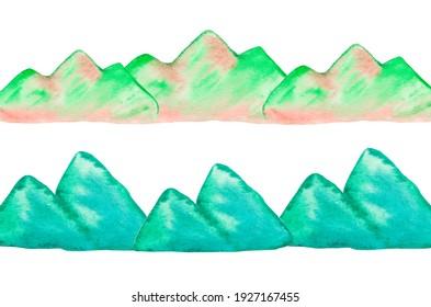 Advertising banner watercolor landscape nature travel. Mountain design illustration tourism element outdoor. Blue green silhouette rock peak natural view hill environment background concept.
