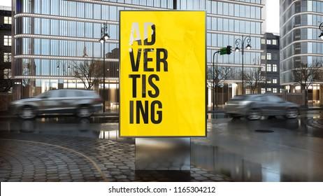 advertising billboard  on city downtown 3d rendering