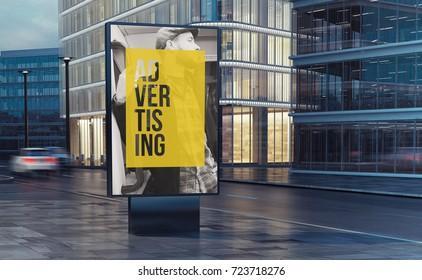 advertising billboard on the street 3d rendering
