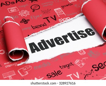 Advertising concept: black text Advertise under the curled piece of Red torn paper with  Hand Drawn Marketing Icons
