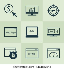 Advertising icons set with HTML code, pay per click, website protection and other loading speed elements. Isolated  illustration advertising icons.