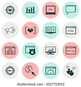 Advertising icons set with target promotion, comprehensive analytics, display advertising and other digital media elements. Isolated  illustration advertising icons.