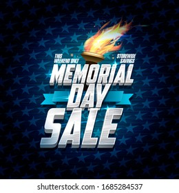 Advertising memorial day sale design, storewide savings, classic backdrop with stars, ribbon and torch fire, rasterized version