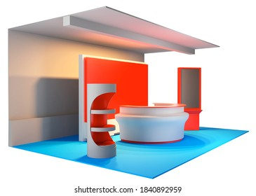 Advertising POS POI Promotion counter, Retail Trade Stand. 3D rendering