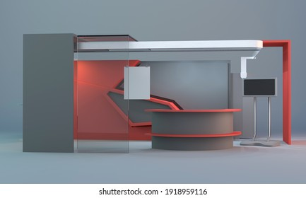 Advertising POS Promotion counter, Retail Trade Stand, Front View, 3D render