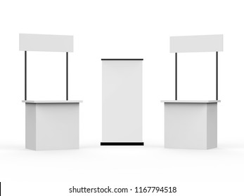 Advertising Promotion counter, Retail Trade Stand with standee Isolated on the white background, 3d illustration.