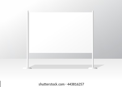 Advertising stand board banner template, sign board mockup, advertisement signboard presentation with identity brand example design, modern billboard illustration isolated image