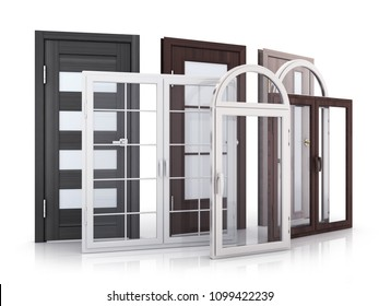 Advertising Windows and doors on white background. 3d illustration