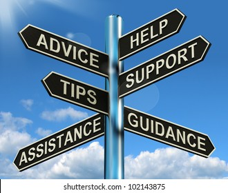 Advice Help Support And Tips Signpost Shows Information And Guidance. A Sign With Choices About Customer Service, Assistance And Tips.