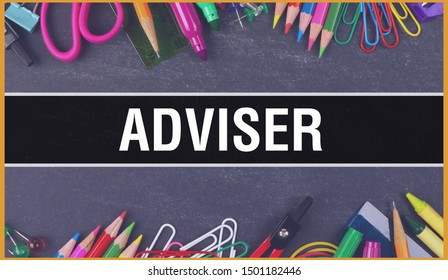 adviser text written on Education background of Back to School concept. adviser concept banner on Education sketch with school supplies. adviser with Pencils over classroom blackboard,3D rendering