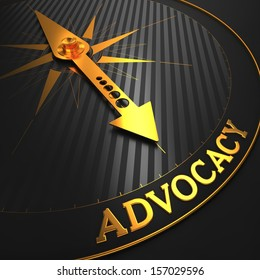 "Advocacy - Business Background. Golden Compass Needle on a Black Field Pointing to the Word ""Advocacy"". 3D Render."