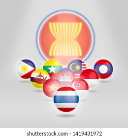 AEC, Asean Economic Community flag symbols. thailand 2019.-image