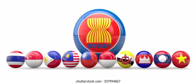 AEC, Asean Economic Community flag symbols, 3d sphere rendering