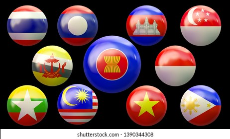 AEC Asean Economic Community flags - 3d Render