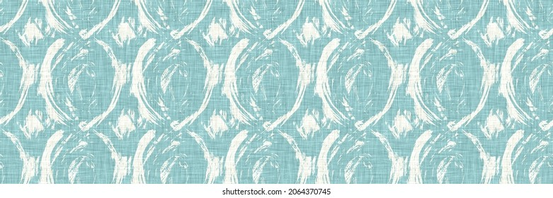Aegean teal mottled border strip linen texture background. Summer coastal living style home decor fabric effect. Sea green wash grunge edge material. Decorative textile seamless pattern banner.
