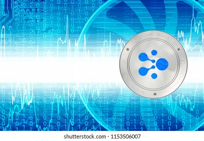 AELF (ELF) cryptocurrency. Silver coin. Cyber money.