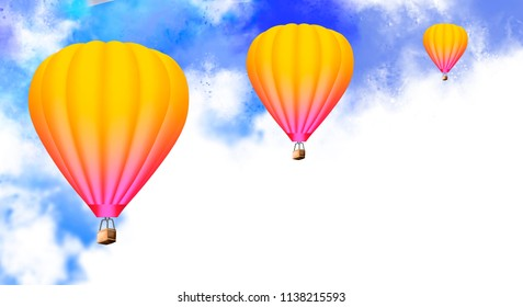 Aerial flying balloons in abstract sky