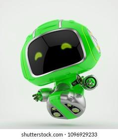 Aerial robotic creature in green colors, 3d illustration