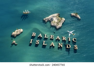Aerial view of the Balearic Islands in Spain