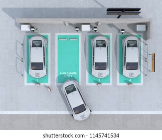 Aerial view of car sharing parking lot equipped with charging station and batteries. 3D rendering image.