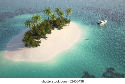 aerial view of a caribbean desert island in a turquoise water with a woman diving and a yacht as a concept for quiet vacations