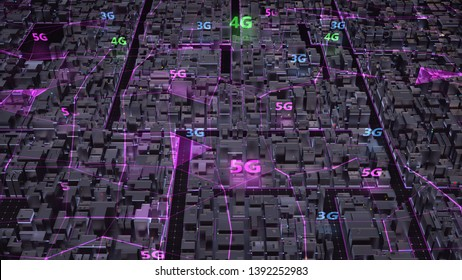 Aerial view city connected through 3G, 4G, 5G network in purple colors. Wireless technology and internet of things , Smart city and communication network concept. IoT. ICT. 3d render.
