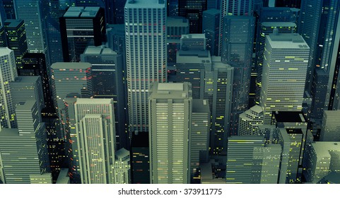 Aerial view of downtown buildings