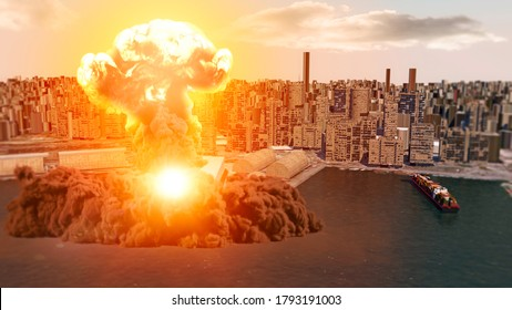 Aerial view during the explosion in the port area of Beirut, Lebanon. Ammonium nitrate stored in the harbor. 3d render. Streets and buildings. Explosion that devastated much of Beirut's port area