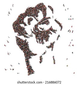 Aerial view of Fist Symbol drawn out of people protesting