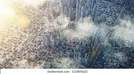 Aerial view of futuristic sci-fi city and commercial office building . 3d illustration rendering .