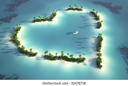 aerial view of a heart-shaped island  in a turquoise water with a yacht as a concept for quiet and romantic vacations