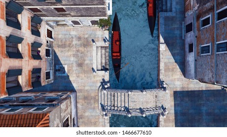 Aerial view of moored empty venetian gondola and ancient stone bridge on a narrow water canal in Venice, Italy. With no people realistic 3D illustration from my own 3D rendering file