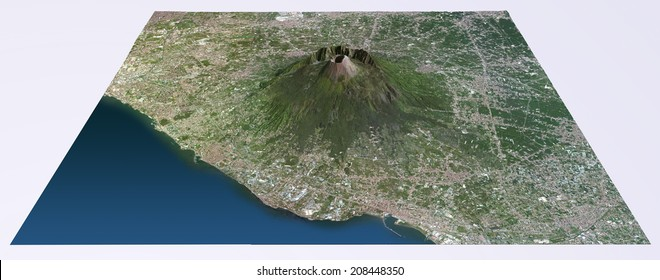 Aerial view of Mount Vesuvius map. Images are furnished by NASA