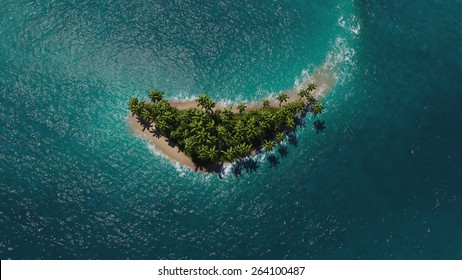 Aerial view of a paradise tropical island in sea