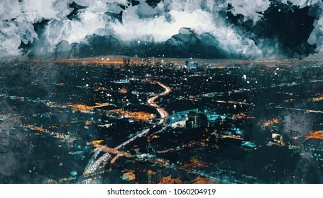 Aerial view sketch of highways leading to Downtown Los Angeles at night