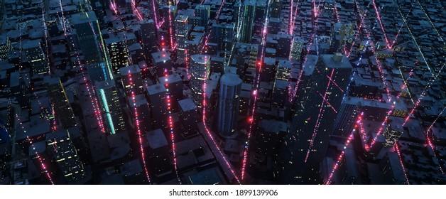 Luftbild von Smart City mit Partikelleuchten Lichtverbindungsdesign, Konzept der Big-Data-Verbindungstechnik. 3D-Rendering