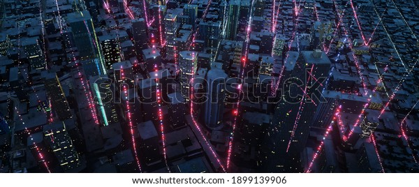 Aerial view of Smart City with particle glowing light connection design, big data connection technology concept. 3d rendering